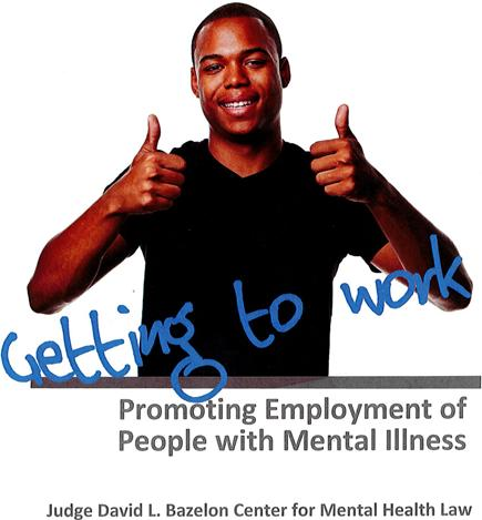"""Thumbs Up from Young Man with caption: """"Getting to work: Promoting Employment of People with Mental Illness"""""""